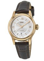 Oris Classic Date Silver Dial Rose Gold Tone Leather Women's Watch 01 561 7718 4871-07 6 14 32