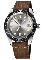 Oris Divers Sixty- Five Silver Dial Brown Leather Strap Men's Watch 01 733 7720 4051-07 5 21 02