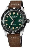 Oris Divers Sixty- Five Green Dial Brown Leather Strap Men's Watch 01 733 7720 4057-07 5 21 02