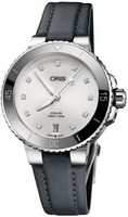 Oris Aquis Date Diamonds Grey Fabric Women's Watch 01 733 7731 4191-07 5 18 45FC