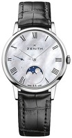 Zenith Elite Ultra Thin Lady Moonphase Mother of Pearl Dial Black Leather Women's Watch 03.2320.692/81.C714
