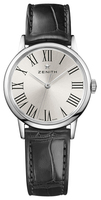 Zenith Elite Ultra Thin Lady Silver Dial Black Leather Women's Watch 03.2330.679/11.C714