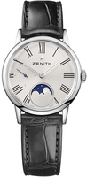 Zenith Elite Ultra Thin Lady Moonphase Silver Dial Black Leather Women's Watch 03.2330.692/02.C714