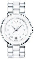 Movado Cerena  Steel and White Ceramic Women's Watch 0606540