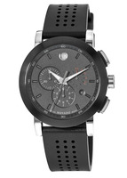 Movado Museum Sport Black Chronograph Dial Rubber Strap Men's Watch 0606545