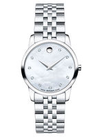 Movado Museum  Mother of Pearl Diamond Dial Steel Women's Watch 0606612