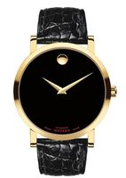 Movado Red Label  Black Dial Black Leather Men's Watch 0607007