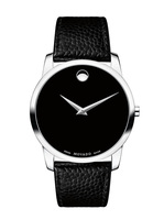 Movado Museum  Black Dial Leather Men's Watch 0607012
