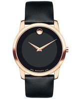 Movado Museum Classic Rose Gold Tone Steel Black Dial Leather Strap Men's Watch 0607078