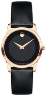 Movado Museum Classic  Rose Gold Plated Leather Strap Women's Watch 0607079