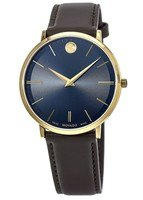 Movado Ultra Slim  Blue Dial Leather Strap Swiss Men's Watch 0607088