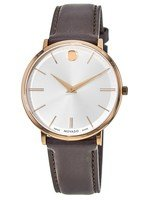 Movado Ultra Slim  Rose Gold Tone Silver Dial Leather Strap Men's Watch 0607089