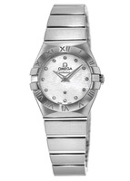 Omega Constellation Brushed Quartz 24mm Mother of Pearl Diamond Wave Dial Women's Watch 123.10.24.60.55.004