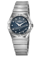 Omega Constellation Quartz 27mm Blue Dial Diamond Stainless Steel Women's Watch 123.10.27.60.53.001