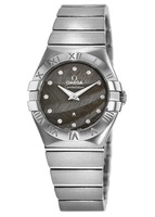 Omega Constellation Brushed Quartz 27mm Grey Feather Diamond Dial Women's Watch 123.10.27.60.56.001