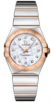 Omega Constellation Polished Quartz 27mm MOP Diamond Dial 18kt Rose Gold & Steel Women's Watch 123.20.27.60.55.003