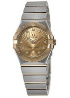 Omega Constellation Brushed Quartz 27mm Champagne Diamond Dial Steel & Gold Women's Watch 123.20.27.60.58.001