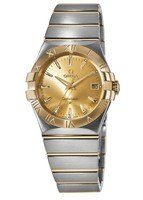 Omega Constellation Quartz 35mm Yellow Gold & Steel Champagne Dial Men's Watch 123.20.35.60.08.001