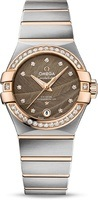 Omega Constellation Automatic Chronometer 27mm Brown Dial Diamond Stainless Steel Women's Watch 123.25.27.20.63.001