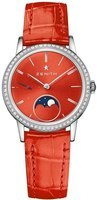 Zenith Elite Ultra Thin Lady Moonphase Red Diamond Dial Red Leather Women's Watch 16.2334.692/71.C818