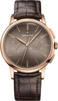 Zenith Elite Chronograph Classic Rose Gold Brown Leather Men's Watch 18.2270.4069/18.C498