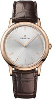 Zenith Elite Classic Rose Gold Brown Leather Silver Dial Men's Watch 18.2290.679/01.C498