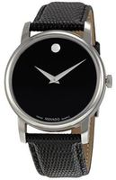 Movado Museum Classic Black Round Dial Black Leather Strap Men's Watch 2100002