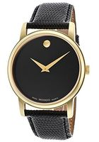 Movado Museum Classic Black Gold Tone Leather Strap Men's Watch 2100005