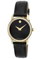 Movado Museum  Black Gold Tone Leather Strap Women's Watch 2100006