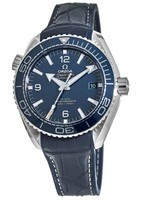 Omega Seamaster Planet Ocean 600M 43.5mm Blue Dial Leather Strap Men's Watch 215.33.44.21.03.001