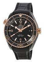 Omega Seamaster Planet Ocean 600M GMT Black Dial Leather Strap Men's Watch 215.63.46.22.01.001