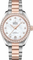 Omega Seamaster Aqua Terra 150m Master Co-Axial Chronometer 34 MM Mother of Pearl Diamond Dial Steel and Rose Gold Women's Watch 220.25.34.20.55.001