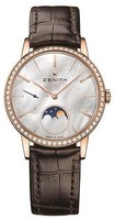 Zenith Elite Ultra Thin Lady Moonphase Rose Gold Diamond Mother of Pearl Dial Women's Watch 22.2320.692/80.C713