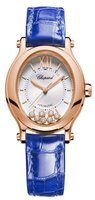 Chopard Happy Sport Oval 7 Floating Diamonds Mother of Pearl Leather Strap Women's Watch 275362-5001