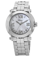Chopard Happy Sport Medium 36mm Mother of Pearl 7 Floating Diamonds Women's Watch 278477-3002