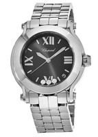 Chopard Happy Sport Round 36mm Black Dial with Three Floating Diamonds Women's Watch 278477-3014