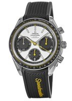 Omega Speedmaster Racing Chronometer Silver Black Dial Rubber Strap Men's Watch 326.32.40.50.04.001