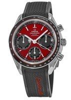 Omega Speedmaster Racing Chronometer Automatic Red Chronograph Dial Rubber Strap Men's Watch 326.32.40.50.11.001