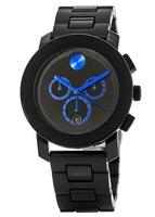 Movado Bold  Black TR90 Chronograph Blue Hands Men's Watch 3600101