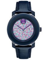 Movado Bold  Crystal Pave Dial Blue Leather Women's Watch 3600263