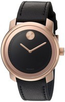 Movado Bold  Rose Gold Tone Black Dial Leather Strap Men's Watch 3600376