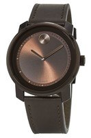 Movado Bold  Swiss Brown Dial Leather Strap Men's Watch 3600377