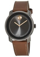 Movado Bold  42.5 mm Gunmetal Grey Ion-plated Stainless Steel Leather Strap Men's Watch 3600378