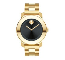 Movado Bold  Yellow Gold Black Dial Unisex Watch 3600397