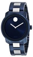 Movado Bold  Blue and Silver Stainless Steel Men's Watch 3600422