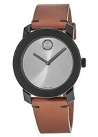 Movado Bold  Grey Dial Brown Leather Men's Watch 3600442
