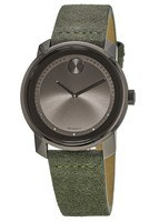 Movado Bold  Grey Dial Green Suede Strap Men's Watch 3600448
