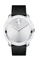 Movado Bold  Silver Dial Black Leather Men's Watch 3600468