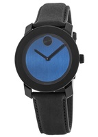 Movado Bold  Black/Blue Dial Black Leather Men's Watch 3600481