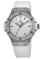Hublot Big Bang 38mm Diamond Bezel White Strap Women's Watch 361.SE.2010.RW.1104